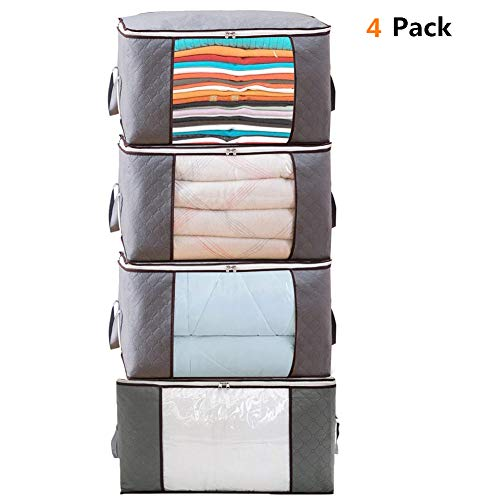 LivingBox Foldable Storage Containers Fabric See-Through Window, Household Home Organizers, Oxford Fabric Storage Bins, 4 Pack (The Through See Window)