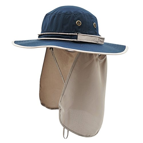Chin Strap Cover (Home Prefer Unisex Quick Drying UV Protection Outdoor Sun Hat with Flap Neck Cover Foldable Fishing Cap Blue )