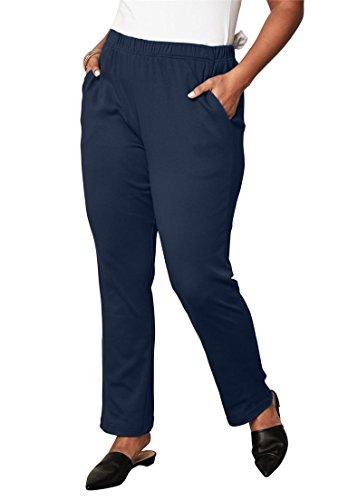 Roamans Women's Plus Size Tall Classic Soft Knit Pants Navy,M Classic Knit Sweatpants