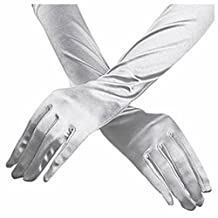 Women Elegant Elbow Length 15inch Stretchy Satin Gloves (Silver)