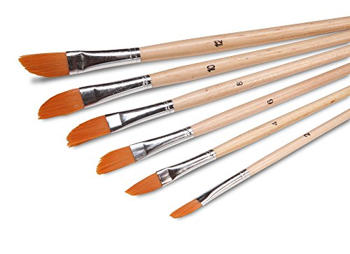 Artist Paint Brush Set (6 Pc. Angled Flat Tip) for Acrylic, Oil or Watercolor- Assorted Sizes (Detail Paint Roller compare prices)