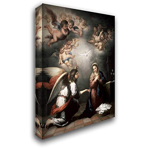 Annunciation 28x36 Gallery Wrapped Stretched Canvas Art by Murillo, Bartolome Esteban