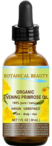 ORGANIC EVENING PRIMROSE OIL. 100% Pure / Natural / Undiluted / Unrefined /Certified Organic/ Cold Pressed Carrier Oil. Rich antioxidant to rejuvenate and moisturize the skin and hair. 1 Fl.oz - 30ml. by Botanical Beauty