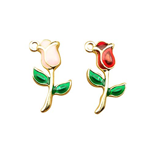 SANQIU 20PCS Mixed Color Enamel Tulip Charm for Jewelry Making and ()