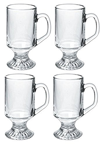 Irish Glass Coffee Mug, Set of 4 - 9.75 oz. Footed Coffee Mug Simple, ELEGANT Glasses Can Be Used for Morning Coffee & Serve Sweet Treats as Well. High Decorative Pedestal Bottoms & Circular Handle - Pedestal Irish Coffee Mugs