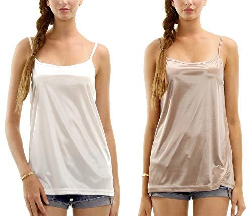 Women's Basic Satin Full Slip Top Camisole 2 Piece Combo Pack (Ivory/Mocha, Medium)