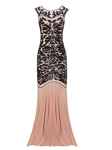 [Vijiv 1920s Long Prom Dresses Sequins Beaded Art Deco Evening Party V Neck Back] (1920 Dress)