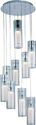 ET2 E22204-10 Frost 9-Light Multi-Light Pendant, Polished Chrome Finish, Clear/White Glass, MB PAR20 Halogen Halogen Bulb, Dry Safety Rated, 3000K Color Temp., Shade Material, 2900 Rated Lumens