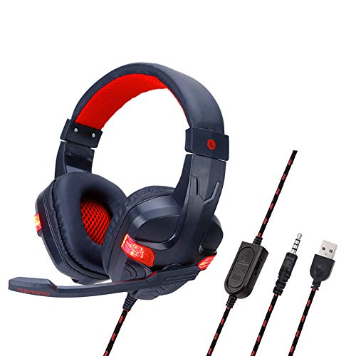 (Infgreate USB Wired Gaming Headsets, SY860MV Over-Ear Lighting Stereo with Noise-canceling Mic Gaming Headset for PC Laptop Game Console Red)