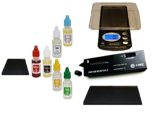 Professional Gold/Silver Estate Precious Metals Kit, Plus Platinum Test, Digital Diamond Tester and More