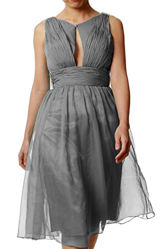 MACloth Women Chiffon Short Bridesmaid Dress Cocktail Wedding Party Formal Gown Gris