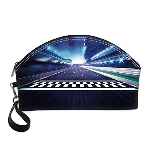 - Man Cave Decor Small Portable Cosmetic Bag,Finish Line on Racetrack Motion Blur Motorsports Competition Stadium Image Decorative For Women,One size