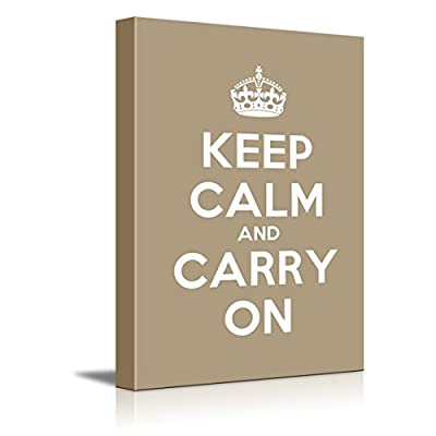 Canvas Wall Art Gallery Wrap Canvas Prints - Keep Calm and Carry On | Stretched Brown Canvas Home Art Ready to Hang - 24