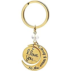 Charms I Love You to the Moon and Back Keychain,I Love You KeyRing,Moon and Sun Love Heart Key Ring Forever Love Jewelry Valentine's Day Birthday Wedding Gift