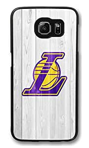 Samsung Galaxy S6 Edge Case, S6 Edge Case - Hipster Design Lakers Logo [Scratch-Resistant] [Perfect Fit] Protective Case Hard Back Bumper Case Cover for Samsung Galaxy S6