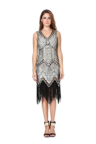 Womens 1920s Sequin Dress Gatsby Art Deco/ Cocktail / Flapper Party Dresses with Fringed (Gatsby 1920s Dress)