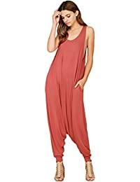 Women's Comfy Rayon Solid Color Sleeveless Harem Jumpsuits