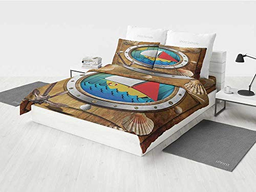 Anchor American Bedding Set Metallic Porthole with Bolts Seashells Rusty Anchor and Boat Journey Voyage Activity Printing Four Pieces of Bedding Set Multicolor ()
