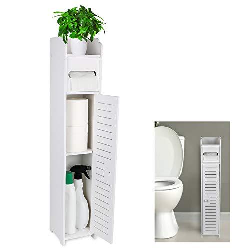 Gotega Small Bathroom Storage Toilet Paper Storage Corner Floor Cabinet with Doors and Shelves Bathroom Organizer…