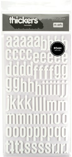 American Crafts Thickers Foam Letter Stickers, Daiquiri White (42743) American Crafts Thickers Foam