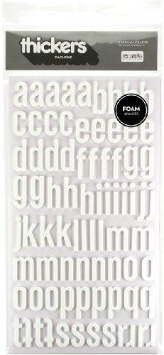 American Crafts Thickers Foam Letter Stickers, Daiquiri White (42743)