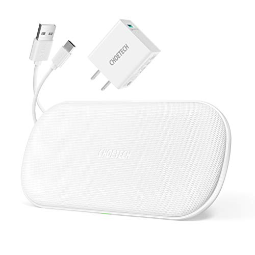 Plus Coil - CHOETECH Dual Wireless Charger, 5 Coils Qi Certified Fast Wireless Charging Pad Compatible with iPhone X/XS/XS Max/XR/8/8 Plus, Samsung Galaxy Note 10/Note 10+/S10/Note9, New AirPods(Adapter Included)