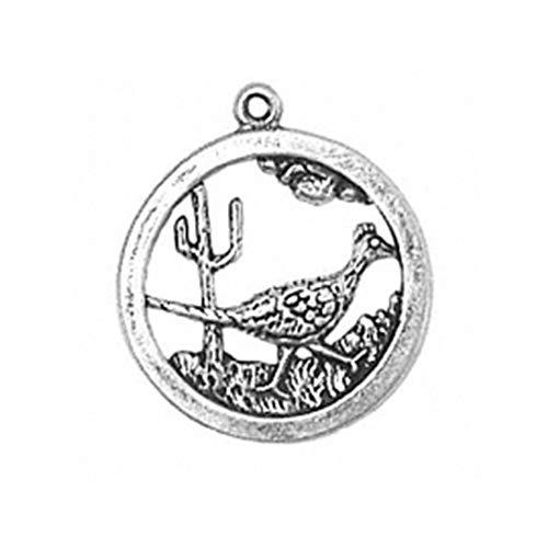 925 Sterling Silver Roadrunner Disc Charm Pendant Desert Bird Medal Medallion
