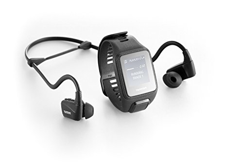 TomTom Spark 3 Cardio + Music, GPS Fitness Watch + Heart Rate Monitor + 3GB Music + Bluetooth Headphones (Black, Small)