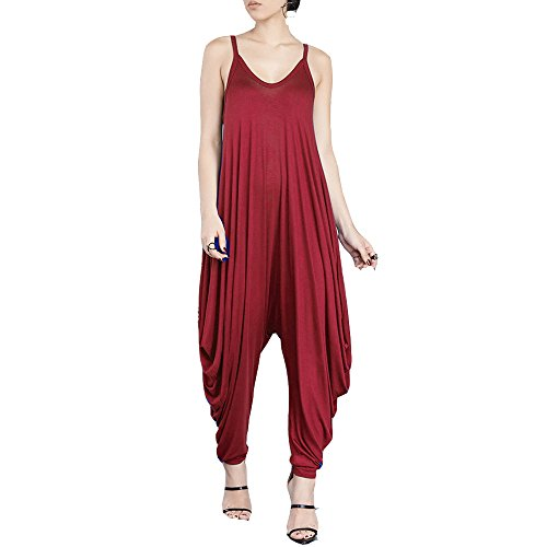 Dreamskull Women's Punk Spaghetti Strap Jumpsuit V Neckline Comfy Loose Harem One Piece Romper(Red)