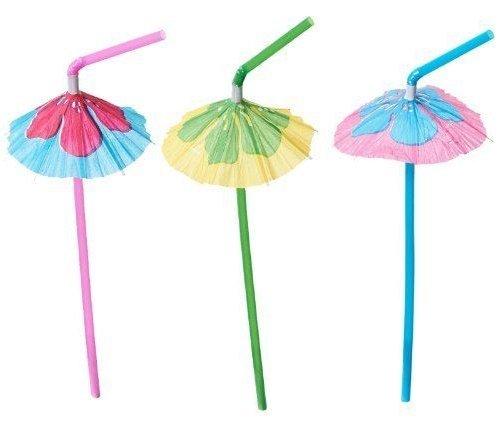 Hibiscus Umbrella Parasol Straws - 48 Pc - Great Luau Tropical Drink Straws