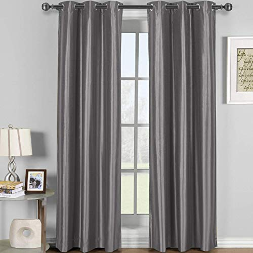 (Soho Gray Grommet Blackout Window Curtain Panel, Solid Pattern, 42x108 inches, by Royal Hotel)