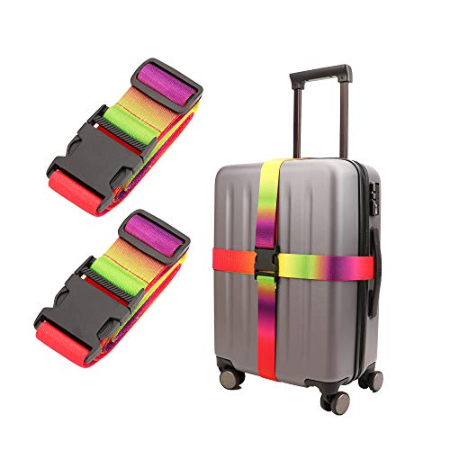 Adjustable Travel Luggage Strap Suitcase Belt Travel Bag Accessories 1.96 in W x 6.4 ft L(2Pack)