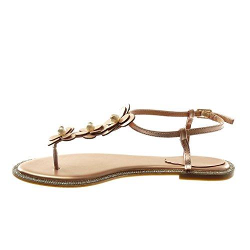 Angkorly Damen Schuhe Sandalen Flip-Flops - Knöchelriemen - T-Spange - Blumen - Perle - Strass Blockabsatz 1 cm Rosa