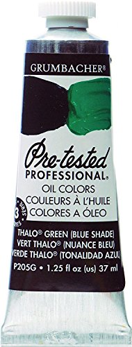 Grumbacher Pre-Tested Oil Paint, 37ml/1.25 Ounce, Thalo Green (Blue Shade) (P205G) by Grumbacher