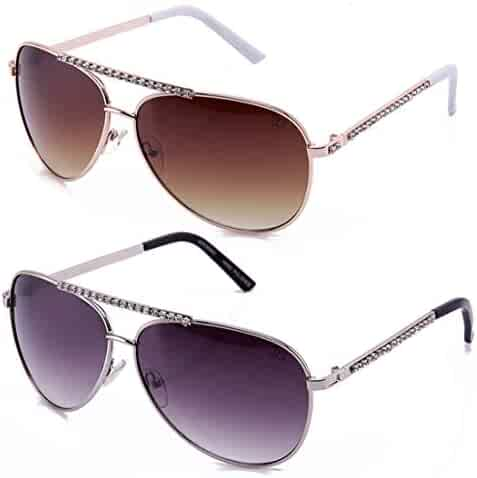 c301afdf2f7c6 Newbee Fashion - Women Aviator Rhinestone Bling Bling Stylish Sunglasses