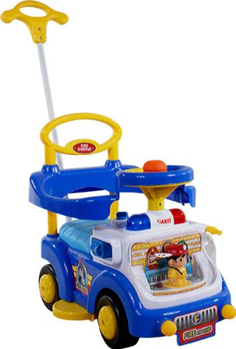 Correpasillos y andados para bebes – Portador con funcion empuja -Tire del juguete – Coche para bebe – Coches para ninos – Baby car ARTI Fire Engine 530W Blue Ride-On Activity Toy