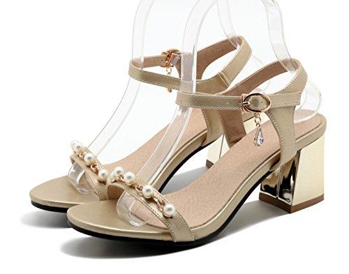 Aisun Kvinna Mode Pärlstav Öppen Tå Spänne Klänning Staplade Medel Klackar Sandaler Sko Med Vristrem Guld