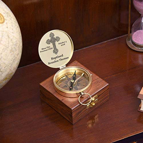 [Sponsored]customized baptism present, engraving on working compass and wooden box, Heavenly present of blessings, perfect