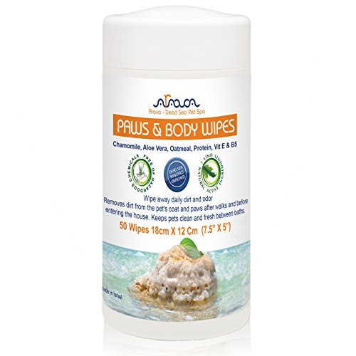 Arava Natural Dog & Cat Grooming Wipes - Pet Cleansing Wipes for Dogs Cats Puppies Kittens - for Paws & Body - Remove Dirt Dust & Odors - Gentle Cleansing (Natural Puppy Grooming Wipes)