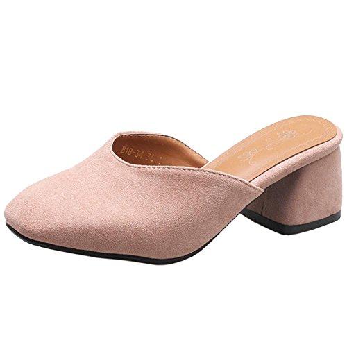 pour Carré Femmes Mules à Talons RAZAMAZA Confort Pink 6xqFwYX