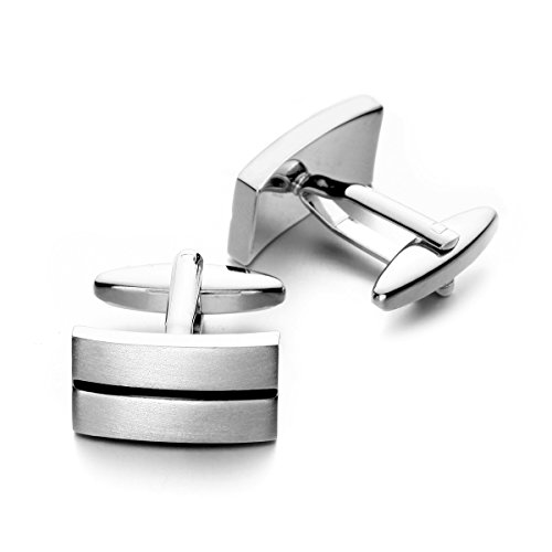 PenSee Mens Classic Cuff Link Business Wedding Stainless Steel Copper Cufflinks-Various Styles (Classic Rectangle)