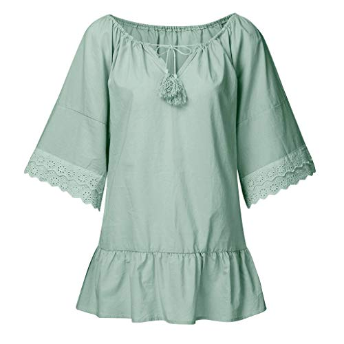 MINGGER Soild with Lace Long Sleeve Tops 3/4 Sleeve T Shirts Blouse Fashion Women V-Neck Lantern Sleeve Shirt Summer Top