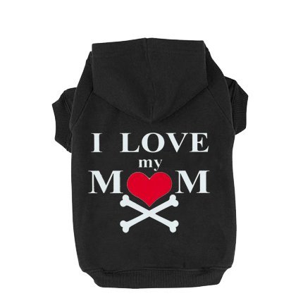 EXPAWLORER I Love My Mommy Dog Cat Fleece Sweatshirt Hoodies Costumes Black (Diy Dog Costume Hoodie)