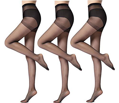 Yulaixuan Womens Run Resistant 3 Pairs Control top Pantyhose 15 Denier Full Length Reinforced Tights Sheer Stockings (3 Black)