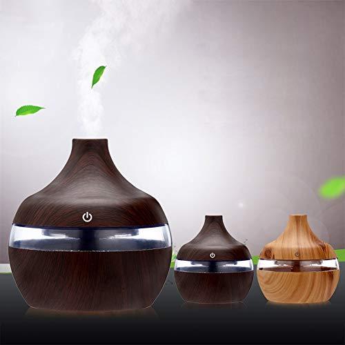 fggfgjg Home Air Humidifier Essential Oil Aromatherapy Diffuser USB LED Night Light Dark Wood Grain