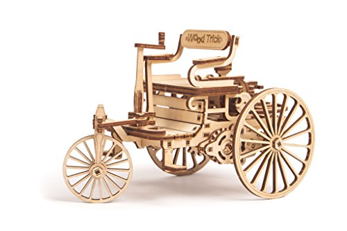 World's First Car Model, First Automobile Model Kit - Motorcar Vehicle - 3D Wooden Puzzle, Assembly Toys, ECO Wooden Toys, Best DIY Toy - STEM Toys for Boys and Girls