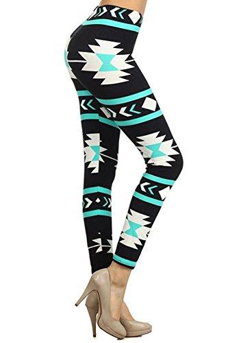 Women's Regular American Indian Aztec Pattern Print Leggings - Black Aqua