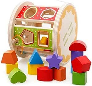لعبة مكعبات مزخرفة للتعليم المبكر للاطفال، لعبة تعليمية متعددة الوظائف باشكال هندسية