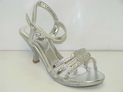 """Women's Rosette Rhinestone Dress Sandals """"Cedar-01"""" - Silver (6.5, Silver)"""