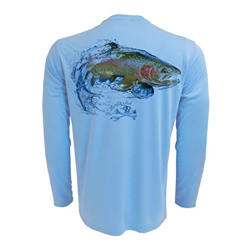 - Rattlin Jack Men's Long Sleeve UV Fishing Shirt Rainbow Trout L Blue